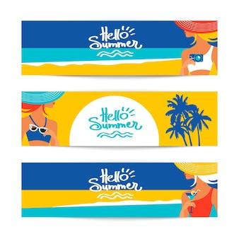 Set zomer banners met mooie vrouwen silhouetten aan de kust. vector illustratie