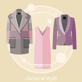 Set zomer- en herfstkleding in klassieke stijl voor kantoor in modewinkel. concept in plat ontwerp