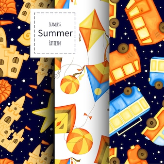 Set zomer patronen. cartoon-stijl. vector illustratie.