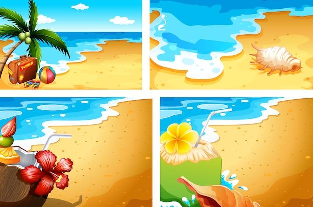 Set zomer strand achtergrond Premium Vector