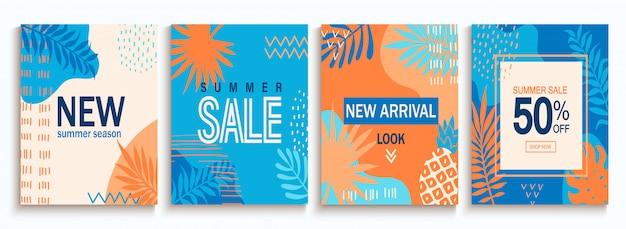 Set zomer verkoop abstracte kaarten met geometrische vormen.