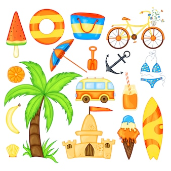 Set zomerartikelen voor vakantie.