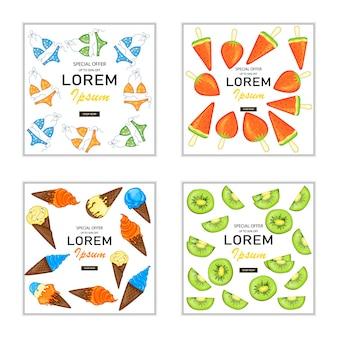 Set zomerflyers en folders voor reclame en kortingen.