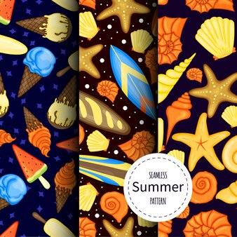 Set zomerpatronen. cartoon stijl.