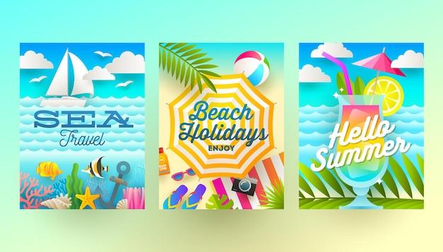Set zomervakantie en tropische vakantie posters of wenskaarten