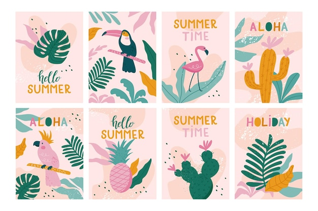 Set zomervakantie kaarten. handgetekende prachtige posters met toekans, flamingo's, papegaaien, cactussen, exotische bladeren in trendy stijl.