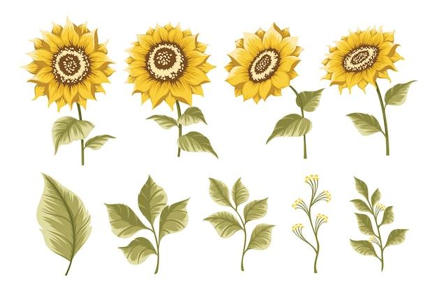Set zonnebloemen ontwerpelement voor bruiloft uitnodiging en verjaardagskaart