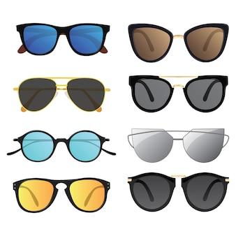 Set zonnebril. collectie van stijlvolle glazen. vermijd blootstelling aan zonlicht.