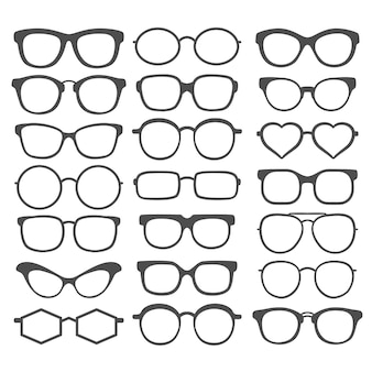 Set zonnebril geïsoleerd op een witte achtergrond. zonnebril pictogram. zonnebrillen collectie