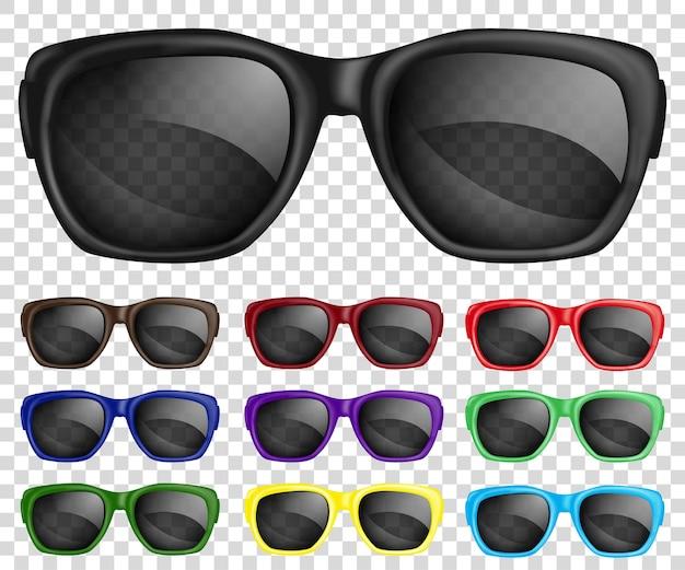 Set zonnebril met veelkleurige monturen en doorschijnende glazen.