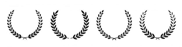 Set zwart silhouet circulaire laurier foliate