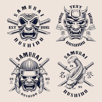 Set zwart-wit vintage emblemen voor samurai-thema