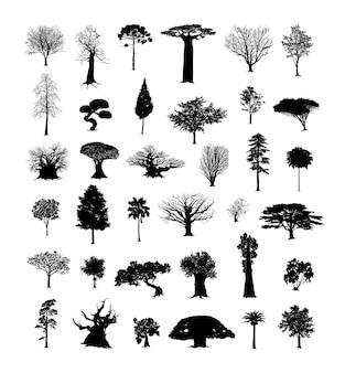 Set zwarte bomen