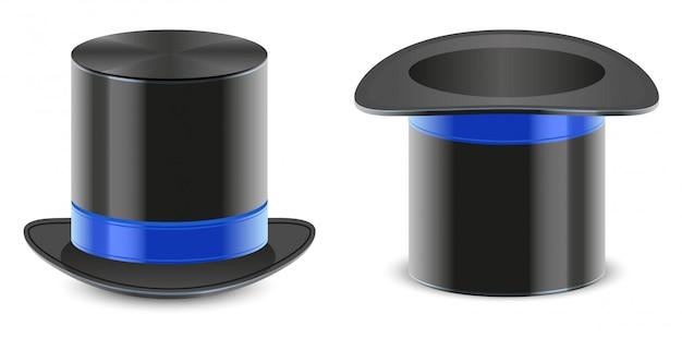 Set zwarte hoed goochelaar cilinder