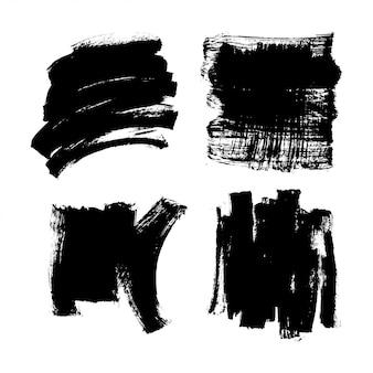 Set zwarte inkt verf penseel textuur