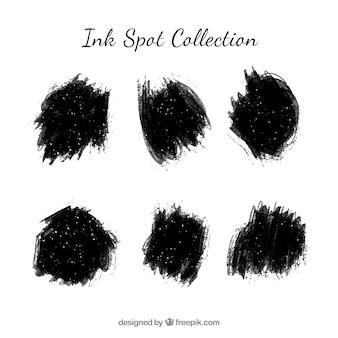 Set zwarte inktvlekken in vlakke stijl