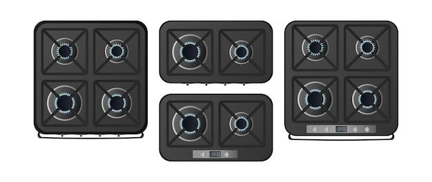 Set zwarte keukenfornuizen met een bovenaanzicht. een gasfornuis is inbegrepen. moderne oven voor de keuken in een realistische stijl. geïsoleerd. vector.