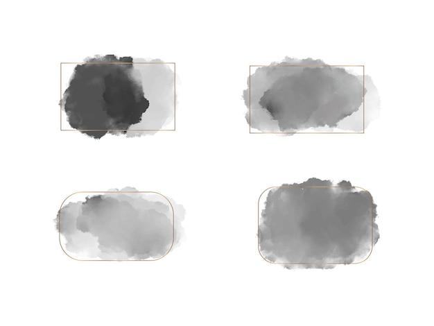 Set zwarte penseelstreek aquarel vormen met gouden lijnen frames