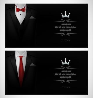 Set zwarte tuxedo visitekaartjesjablonen