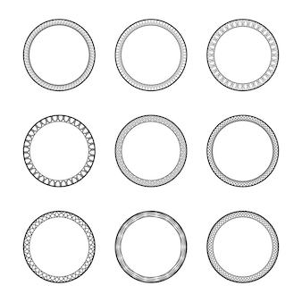 Set zwarte vintage circulaire frames met ornament