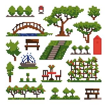 Setelement voor pixelpark geïsoleerd op witte achtergrond eenvoudige vectorillustratie in pixelstijl