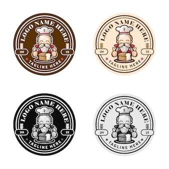 Sets logo van bakkerij en broodwinkel