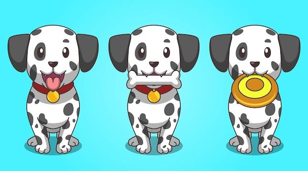 Sets van cartoon afbeelding schattige dalmatische hond