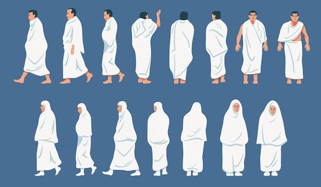 Sets van figuratief karakter van de bedevaart naar de bedevaart.