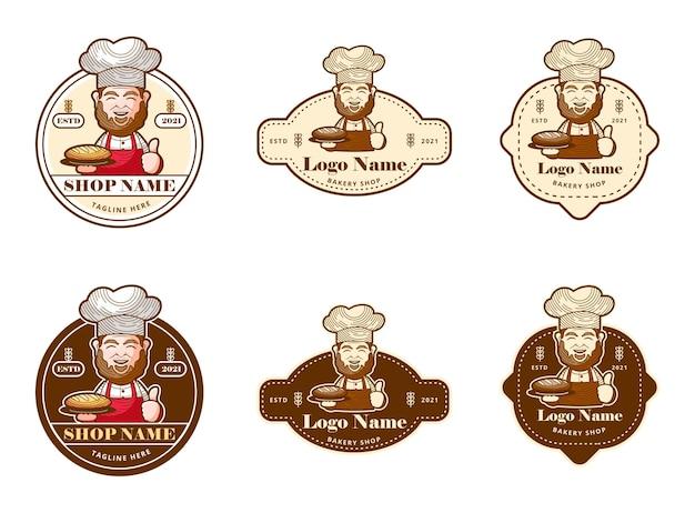Sets vintage logo voor bakkerijwinkel met oude man als mascotte het is goed voor de legendarische bakkerijwinkel