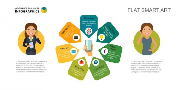 Seven communication options slide template