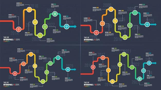 Seventen steps tijdlijn of mijlpaal infographic grafieken.