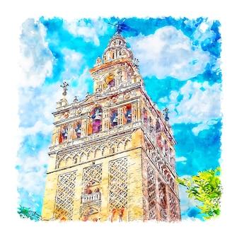 Sevilla spanje aquarel schets hand getekende illustratie