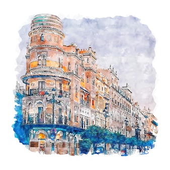 Sevilla spanje aquarel schets hand getrokken