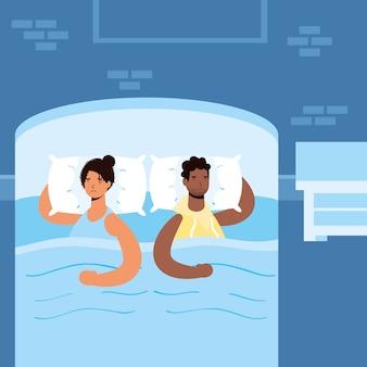 Sex tussen verschillendre rassen paar lijdt aan slapeloosheid tekens illustratie