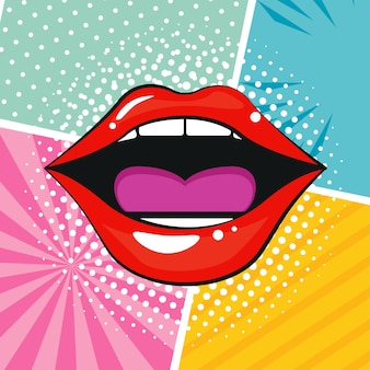 Sexi vrouwelijke mond pop-art stijl.