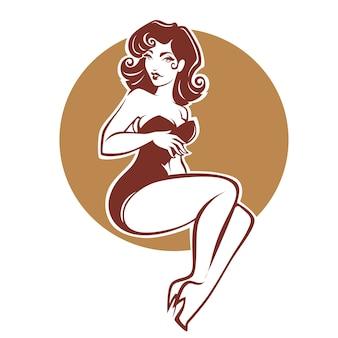 Sexy en schoonheids retro pinupmeisje voor uw embleem of etiketontwerp