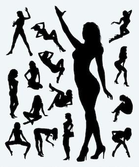 Sexy meisje in actie silhouet