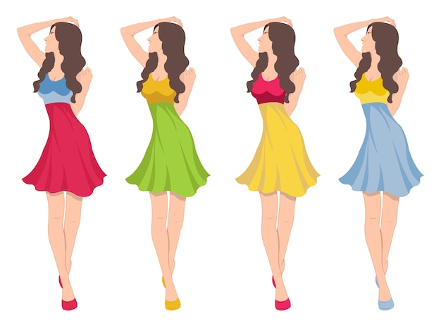 Sexy mode meisje embleem illustratie in verschillende jurken
