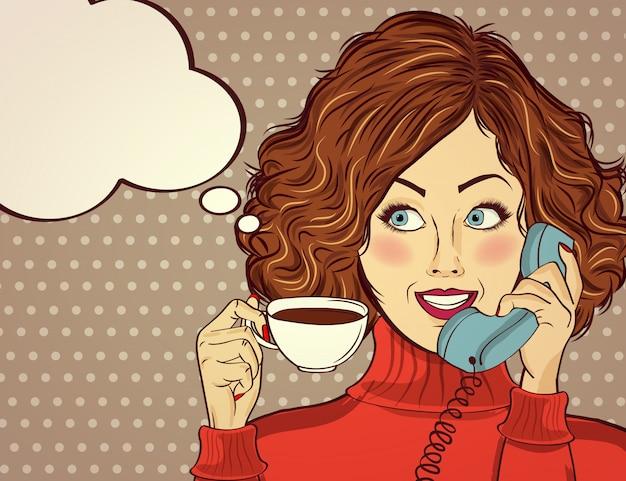 Sexy pop-artvrouw met koffiekop. adverteren poster in komische stijl.