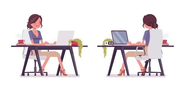 Sexy secretaris werkt aan balie. elegante vrouwelijke office assistent zitten aan de tafel met laptop. bedrijfsadministratie concept. stijl cartoon illustratie op witte achtergrond