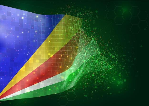 Seychellen, op vector 3d vlag op groene achtergrond met veelhoeken en gegevensnummers