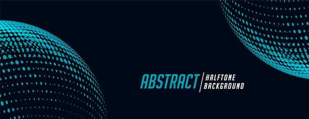 Sferische halftone banner in blauwe en zwarte tinten