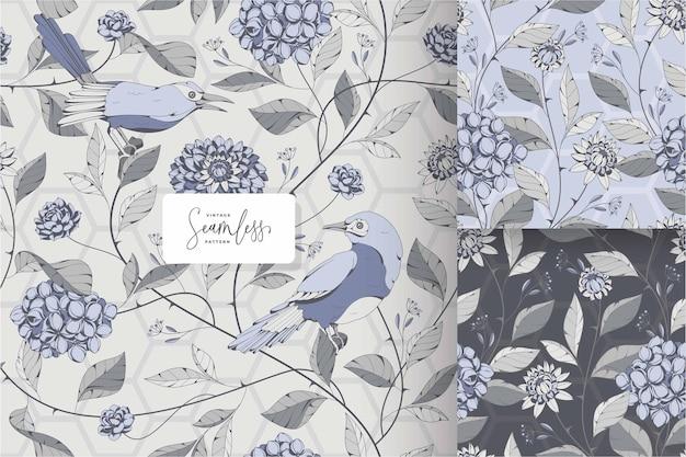 Shabby chic bloemen en vogels patroon sjabloon