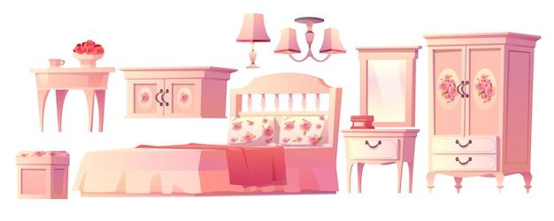 Shabby chic interieur set voor slaapkamer