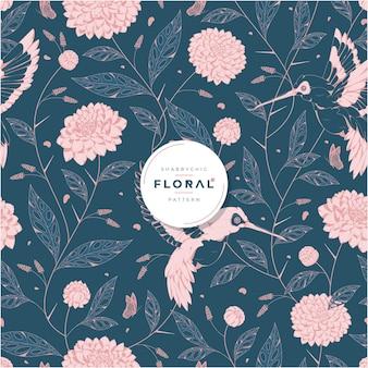 Shabby chic mooi bloemen naadloos patroon