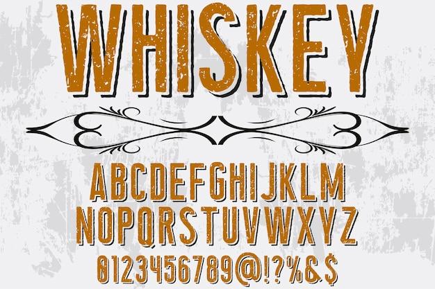 Shadow effect alfabet lettertype ontwerp whisky