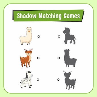 Shadow matchig games dieren alpaca deer zebra