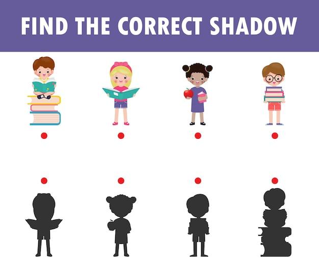 Shadow matching game voor kinderen. visueel spel voor kinderen om de juiste schaduw te vinden