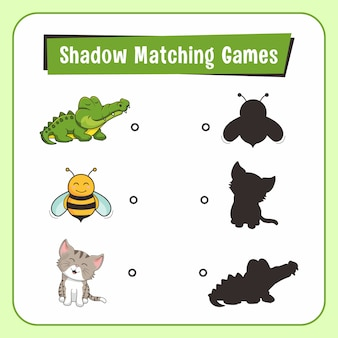Shadow matching games dieren alligator bee cat
