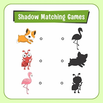Shadow matching games dieren hond ant flamingo bird